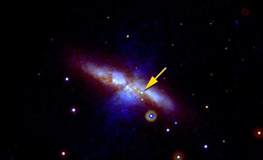 Swift UVOT image of SN 2014J in M82