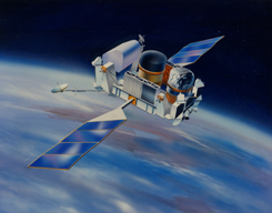Compton Gamma Ray Observatory in Earth orbit, NASA illustration Cartoon_CGRO.jpg