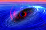 artist's conception of a galactic black hole being orbited by a ripple in spacetime