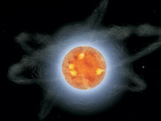artist rendering of a magnetar - the wispy filaments depict the intense magentic field surrounding the magnetar