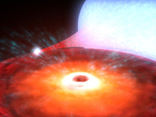 artist's depiction of binary system XTE J1650-500 - the small black hole is in the center of the orange accretion disk in the foreground; the giant blue-white companion star in the background loses material to the black hole, creating the accretion disk