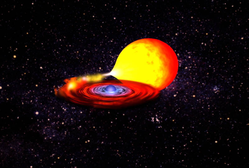 artist's concept of a neutron star pulling matter from a companion star