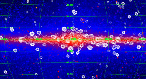 COBE map of galactic center with contours of RXTE-detected X-ray emission overlayed